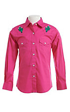 Wrangler Girls Hot Pink Cactus Long Sleeve Western Snap Shirt