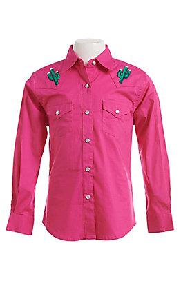 Wrangler Girls Hot Pink Cactus Long Sleeve Western Snap Shirt