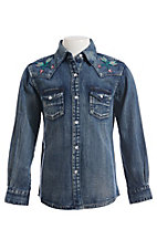 Wrangler Girls Long Sleeve Denim Vintage Western Snap Shirt