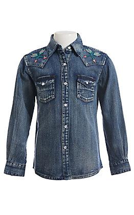 Wrangler Girls Long Sleeve Denim Vintage Western Snap Shirt