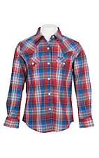 Wrangler Girls Long Sleeve Plaid Western Shirt