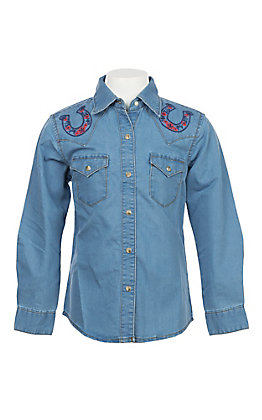 Wrangler Girls Long Sleeve Denim Embroidered Western Shirt