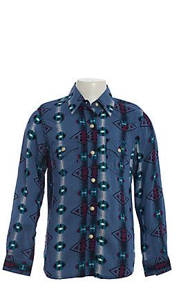 Wrangler Girls' Checotah Blue Aztec Print Long Sleeve Western Shirt