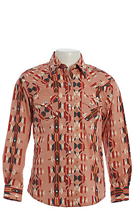 Wrangler Girls' Checotah Blush Aztec Print Long Sleeve Western Shirt