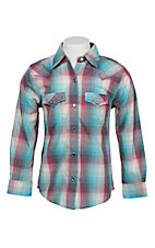 Wrangler Girls Cream, Turquoise & Pink Plaid Western Snap Shirt