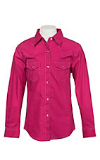 Wrangler Girls Solid Pink Western Snap Shirt