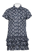 Wrangler Girl's Navy and White Ornate Print Cap Sleeve Shirt Dress