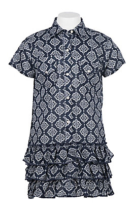 Wrangler Girls' Navy and White Ornate Print Cap Sleeve Shirt Dress