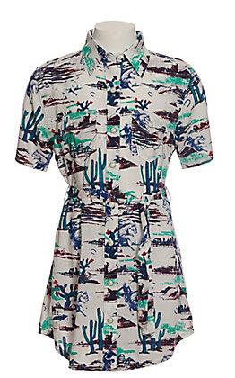 Wrangler Girls White with Western Print Short Sleeve Shirt Dress