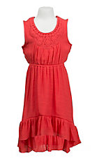 Wrangler Girl's Deep Salmon with Crochet Trim Sleeveless Dress