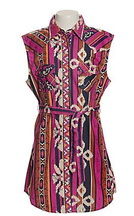 Wrangler Girls Pink, Orange and Navy Aztec Sleeveless Shirt Dress