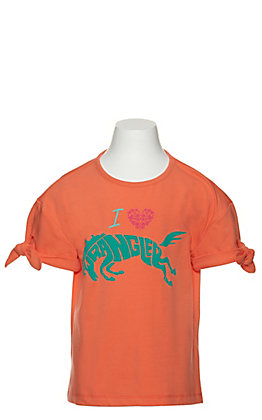 Wrangler Girls Orange with Teal Horse Knit T-Shirt
