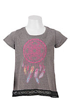Rock 47 by Wrangler Girl's Heather Grey Dream Catcher Short Sleeve Tee