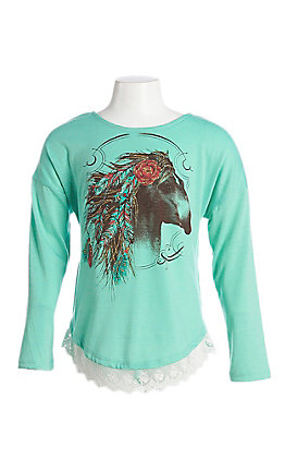 Wrangler Girls Mint Horse with Lace Trim Long Sleeve Shirt