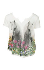 Rock 47 by Wrangler Girl's Cream with Horse Graphic Short Sleeve Casual Knit Top
