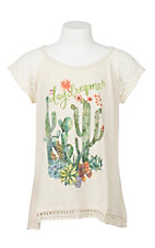 Rock 47 by Wrangler Girl's Cream Cactus Screen Print Short Sleeve Casual Knit Top