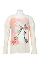 Rock 47 by Wrangler Girl's Cream wtih Lace Details and Horse Screen Print Long Sleeve Casual Knit Top