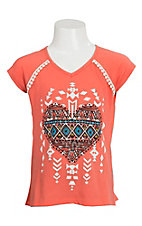 Wrangler Girl's Coral with Aztec Heart Short Sleeve Tee