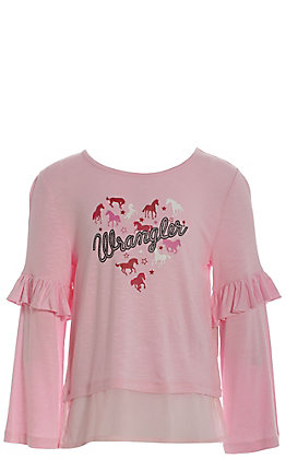 Wrangler Girls' Light Pink with Horse Heart Logo Long Sleeves with Ruffles Tee