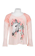 Rock 47 by Wrangler Girl's Peach wtih Lace Details and Horse Screen Print Long Sleeve Casual Knit Top