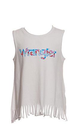 Wrangler Girls White with Camo Logo and Fringe Sleeveless Tank