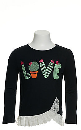 Wrangler Girls' Black Love Cactus with Lace Trim Long Sleeve T-Shirt