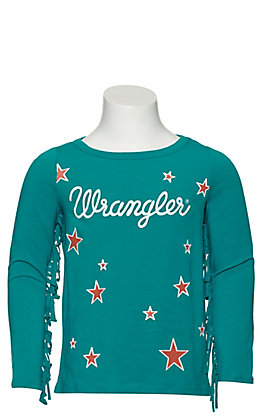 Wrangler Girls Teal with Stars and Fringed Long Sleeves Knit Top