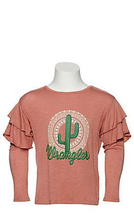 Wrangler Girls Dusty Pink Cactus Graphic Ruffled Long Sleeve Knit Top