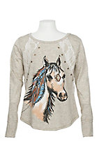 Wrangler Girls' Cream Horse Print w/ Lace Long Sleeve Shirt