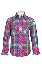 Cowgirl Legend Girls Pink and Green Plaid With Ruffles L/S Western Snap Shirt