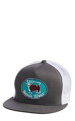 Lazy J Ranchwear Grey & White Elevation Patch Snap Back Cap