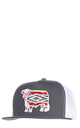 9c65990dfc074 Lazy J Ranchwear Men s Grey and White Serape Hereford Cap