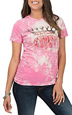 Gypsy Women's Pink Bleached Crew Tee