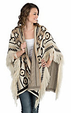 Ethyl Women's Tan and Brown Aztec Print with Fringe Poncho