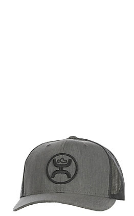 HOOey Men's Grey with Black Logo & Mesh Back Cap