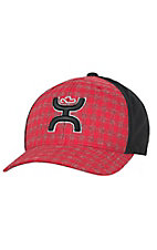 HOOey Red Plaid with Hands Up Logo Black Mesh Back Flex Fit Cap