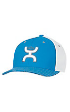 HOOey Blue & White with Hands Up Logo Reflective Flex Fit Cap
