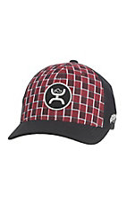 HOOey Red Plaid with Black Brim and Back Black Logo Flex Fit Cap