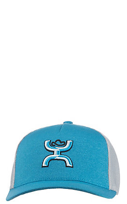 HOOey Teal with White Logo, Grey Mesh Back Snap Back Cap