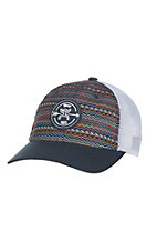 HOOey Navy Aztec Print with Navy Patch Logo and White Mesh Back Snap Back Cap