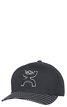 HOOey Black Solo III with Grey Puff Logo on Front Fitted Cap