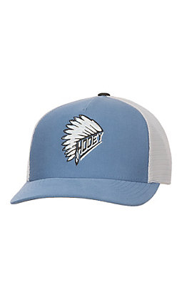 HOOey Light Blue with Headdress Quanah Embroidery on Front and Grey Mesh Snap Back Cap