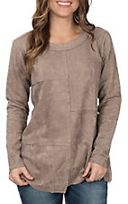 Ethyl Women's Taupe Suede Patch Top