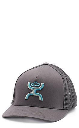HOOey Coach Men's Grey & Turquoise Cap