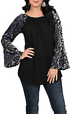Ethyl Women's Black Velvet Print Sleeve Top