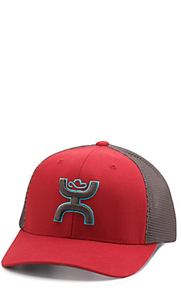 HOOey Red and Charcoal Mesh Snap Back Cap