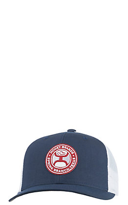 HOOey Blue and White El Camino Circle Patch Mesh Snap Back Cap