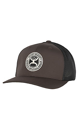 HOOey Brown and Black Circle HOOey Brands Patch Mesh Snap Back Cap