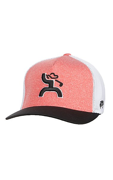 HOOey Two Tone Coach Pink and White Golf Logo Flex Fit Cap  9f73c4c5a97