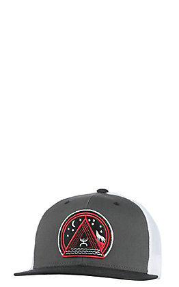HOOey Grey and White Circle Patch with Mesh Snap Back